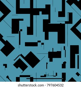 Seamless abstract pattern consisting of chaotically scattered geometric elements. Vector supermatism illustration.