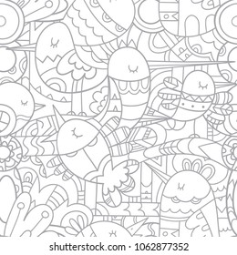 Seamless abstract pattern with cute cartoon birds on white  background. Vector contour image. Linear print.