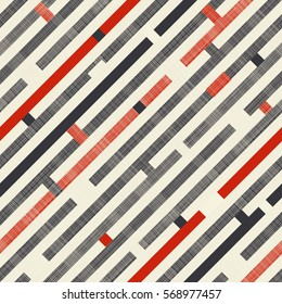 Seamless abstract pattern with diagonal stripes on texture background in retro colors. Endless pattern can be used for ceramic tile, wallpaper, linoleum, textile, web page background.