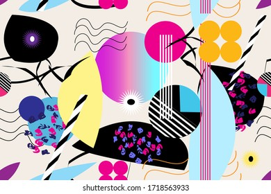 Seamless abstract pattern of different geometric objects and shapes. Template for Wallpaper or poster design.