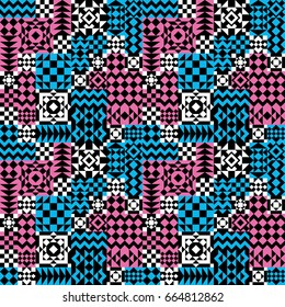 Seamless abstract pattern of geometric shapes in pink, blue, black and white.