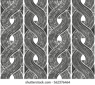 Seamless abstract pattern with grunge texture. Hand drawn background. EPS10 vector illustration in linocut style
