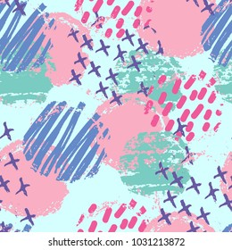 Seamless abstract pattern with hand drawn textures, memphis style. Universal cards, pastel colors, textiles, cloth, clothes, notebooks, wrapping paper. Retro design, fashion art