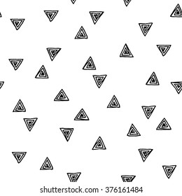 Seamless abstract pattern with hand drawn triangles