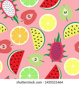 Seamless abstract pattern with hand-drawn colorful fruits