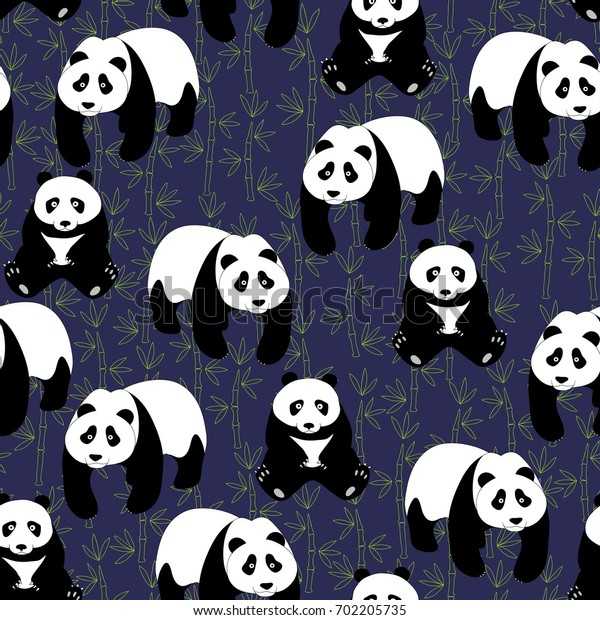 Seamless abstract pattern with hand-drawn cute pandas