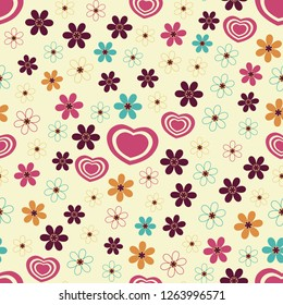 Seamless abstract pattern of hearts and flowers.