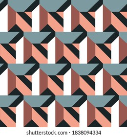 Seamless abstract pattern with the image of geometric shapes and lines. Abstract vector design for web banner, business presentation, brand package, fabric, print, wallpaper.