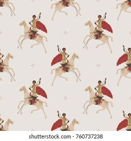 Seamless abstract pattern with images of Saint George. Based on old Russian icon style.
