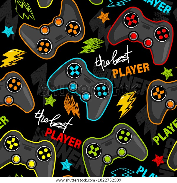 Seamless abstract pattern with joystick game. Print for boys.