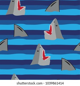 seamless abstract pattern in line with cartoon sharks, print for textiles, fabric, clothes, bed, web, wallpaper, socks, wrapping paper.