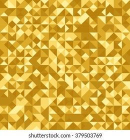"Seamless abstract pattern: monochrome ""gold heraldic"" background with Holographic effect. Triangle foil. Vector illustration."