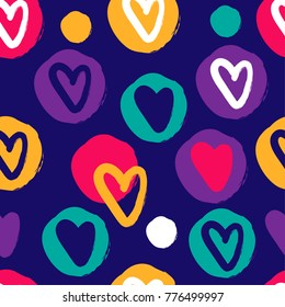 Seamless abstract pattern with multi-colored hearts and circles. Colorfull pattern for fabric, textiles, clothing, wrapping paper, cancers, backpacks, Web.
