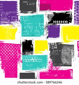 seamless abstract pattern with neon squares, drops and splashes. Retro 80s style. Repeated backdrop for  fashion clothes, t shirt, child, paper. Creative girlish original design