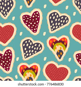 Seamless abstract pattern with painted hearts on a blue background. For fabric, textiles, clothing, wrapping paper, cancers, backpacks, Web.