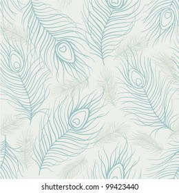 Seamless abstract pattern with peacock feather and bird fluff