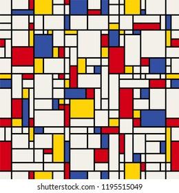 Seamless abstract pattern. (Piet Mondrian imitation).