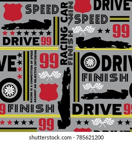 Seamless abstract pattern with silhouette of a racing car, words, flags, wheel. Sports pattern for boys on a gray background for wrapping paper, textiles, pastel.