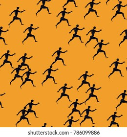 Seamless abstract pattern with silhouettes of running ancient Greek athletes.