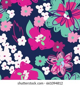Seamless abstract pattern with sketch flowers . For Web, fabric, textile, wallpaper