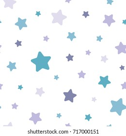 Seamless abstract pattern with soft rounded stars of different colors and size. White background. Nice and colorful Vector illustration.