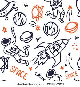 seamless abstract pattern with space. background with a comon, planets, stars, rockets, ufo. Isolated pattern for textile, fabric, bedding, wrapping paper, web, backpacks.