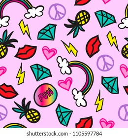 Seamless abstract pattern from stickers with a rainbow, pineapple, heart, lips, lightning. Vector background for textile, fabric, backpacks, web, clothing, wrapping paper.