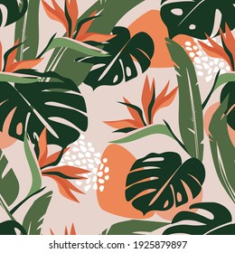 Seamless abstract pattern with tropical exotic monstera and palm leaves. Beautiful strelitzia flowers. Artistic ornament for fabric, wallpaper, posters. Vector graphics.