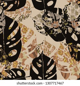 Seamless abstract pattern with tropical leaves and jaguar spots.