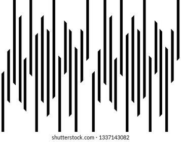Seamless abstract pattern vector. Design random stripe black on white background. Design print for illustration, pattern, paper, textile, background, wallpaper. Set 1