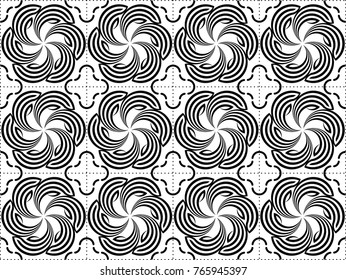 Seamless abstract pattern vector. Rotor design black on white background. Print for wallpaper, textile, background.