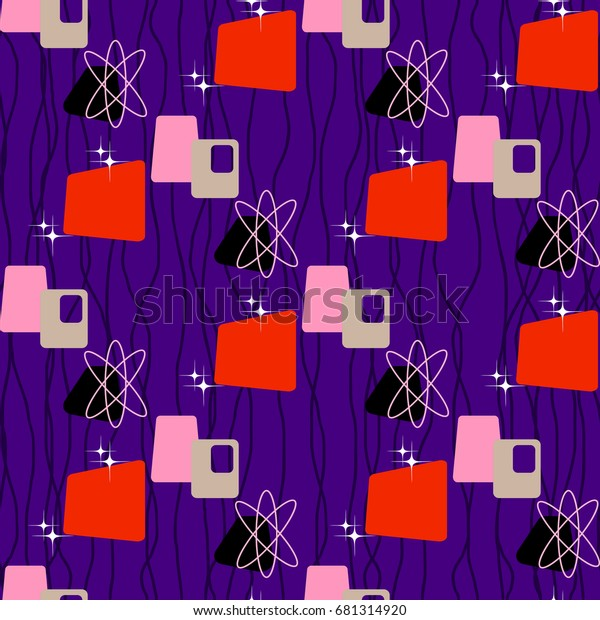 Seamless Abstract Pattern Vintage 50s 60s Backgrounds
