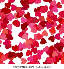 Seamless abstract random heart pattern background - vector graphic from rotated red hearts with shadow effect