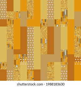 Seamless abstract rectangle background-vector illustration. Pattern from pieces of different textures. Patchwork stil Klimt