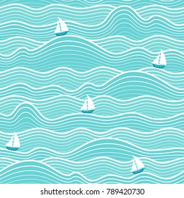 Seamless abstract sea background. Sailboats on a waves. Vector wavy striped pattern.