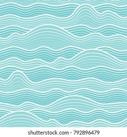 Seamless abstract sea wave background. Vector wavy striped pattern.