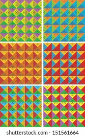 seamless abstract square pattern decorations, 6 variations of bright colors