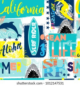 seamless abstract summer pattern with surfer, shark, dolphin, bright colors, for textiles, prints, for boy and girl
