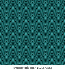 Seamless Abstract Turquoise Geometric Pattern with Stripes. Optical Rhombic Psychedelic Illusion. Wicker Structural Texture. Vector Illustration