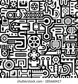 Seamless abstract vector background with black and white industrial items