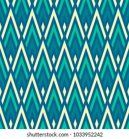 Seamless Abstract Vector Geometric Pattern. Ornament Made Of White, Blue  And Green Triangle Shapes