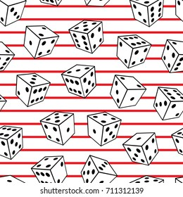 Seamless abstract vector geometric pattern. Black and white 3d dices on red and white striped background. Random layout. Gift wrapping paper. Bed sheets and interior. Game and gambling theme.
