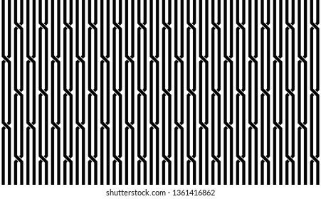 Seamless abstract vertical stripe of pattern vector. Design intertwine of line black on white background. Design print for illustration, textile, wallpaper, background. Set 1