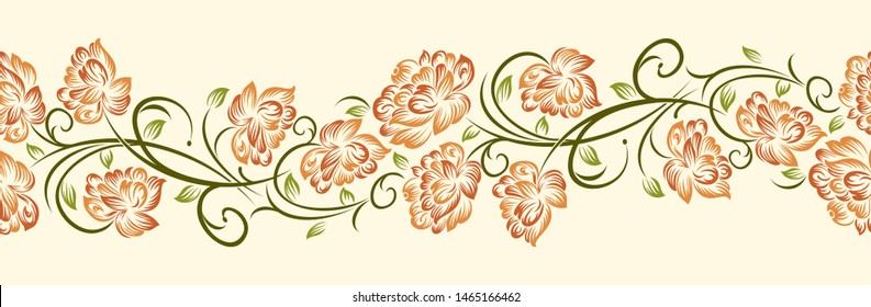 Seamless abstract vintage floral border