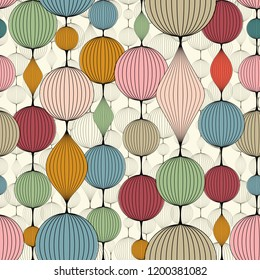 Seamless abstract wallpaper, pattern. Colorful garlands of bulk balls.