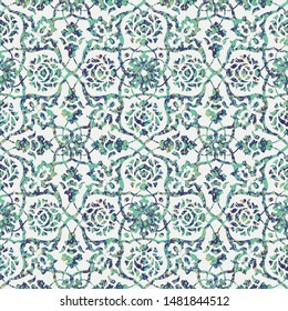 Seamless abstract watercolor tile pattern, neo mint colors