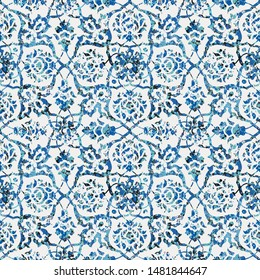 Seamless abstract watercolor tile pattern, blue and neo mint colors
