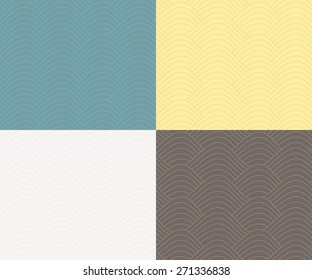 Seamless abstract wave pattern set, vector illustration