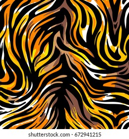 Seamless abstract wild exotic animal print.Leopard, zebra,gepard, tiger striped pattern. Hand drawn trendy repeating watercolor blotted background texture.