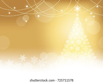 Seamless abstract winter gold background with Christmas tree and snowflakes, vector illustration.